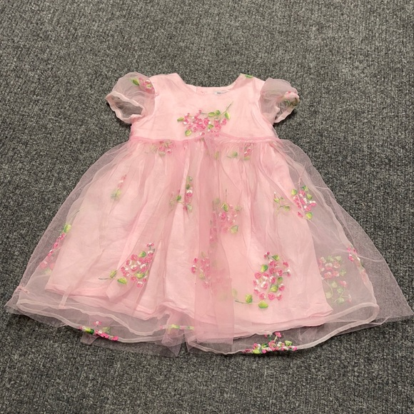 Children's Place pink formal dress with flowers-3T